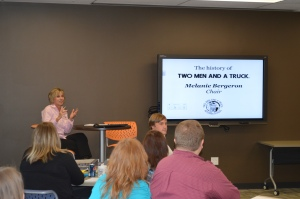 Chair Melanie Bergeron shares TWO MEN AND A TRUCK® history. Very inspiring!