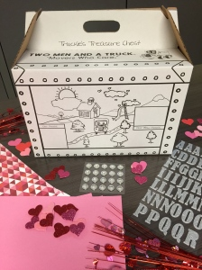 TWO MEN AND A TRUCK supplies for Valentine's Day kids' card box DIY craft