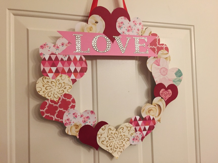 DIY Valentine's Day door wreath from TWO MEN AND A TRUCK boxes
