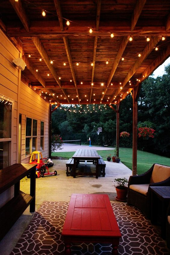 String porch lights