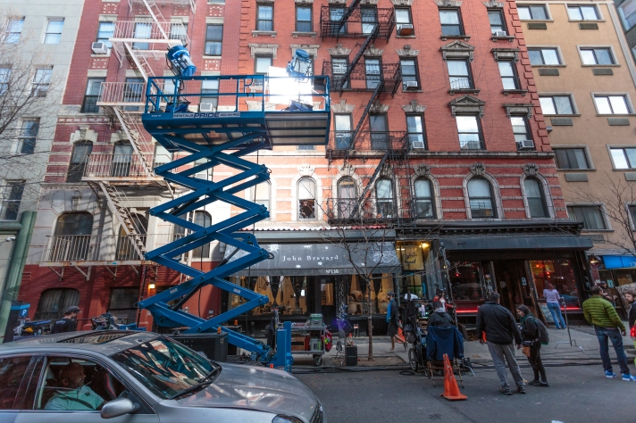 Lighting of filmset near Chinatown in New York City
