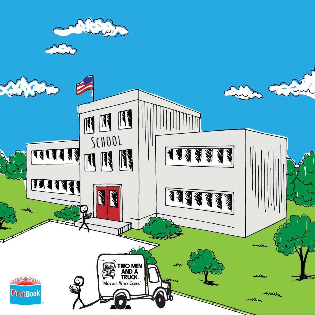 Drawing of a school with TWO MEN AND A TRUCK truck out front